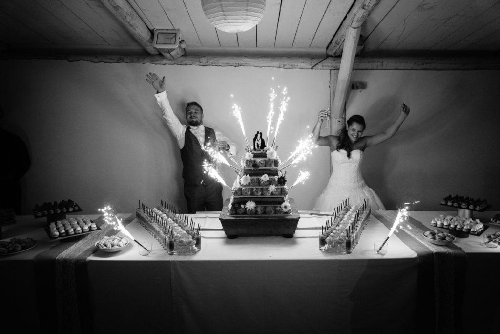 Fin de soirée du mariage, fête et pice montée