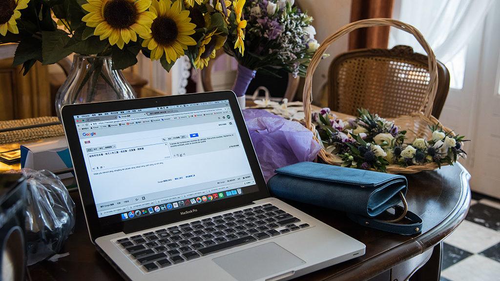 Mariage fleur ordinateur préparation du mariage panier mariée